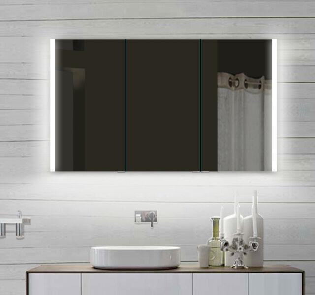 LED Bad Badezimmer Spiegelschrank mit Alu Rahmen Steckdose 120x70cm ...