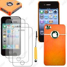 Housse Coque Silver-Line chromé Orange Apple iPhone 4S 4+Mini Stylet+3 Films