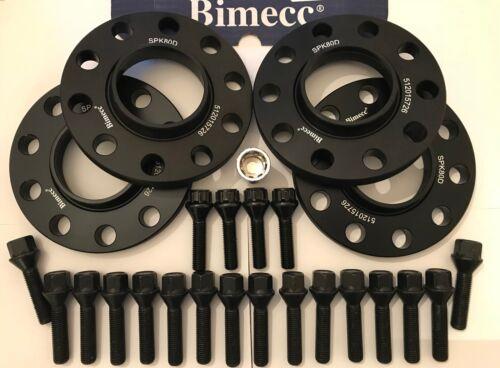4 X 20 mm BIMECC NEGRO ALEACIÓN SEPARADORES DE RUEDA Pernos BMW X5 X6 74. CERRADURAS M14x1.25