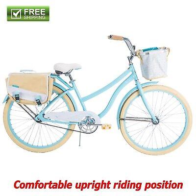 "Huffy Cruiser Bike 26"" Blue Women Comfort Commuter Bicycle Rear Rack Basket New"