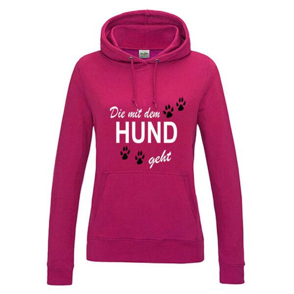 Die mit dem Hund geht-Damen Hoodie-Kapuze-Hoodie mit Kängerutasche, Langarm-hund