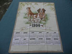 1 Torchon Ancien Vintage En Coton Calendrier 1990 à Décors De Chiens Remise GéNéRale Sur La Vente 50-70%