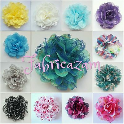 "3.75-4"" Chiffon Lace Fabric Flowers- Pack of 4"