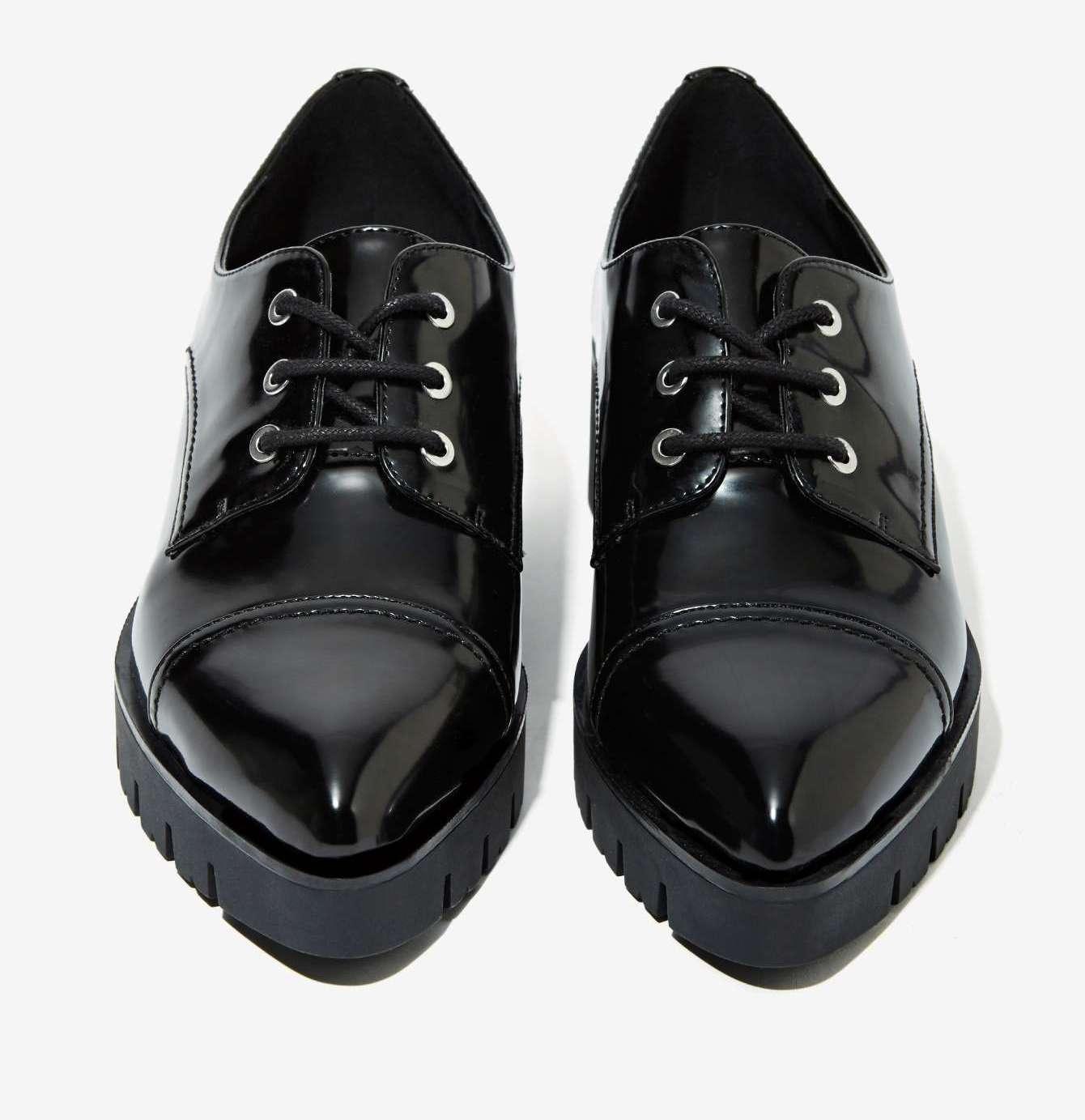 Nouveau Nasty Gal soixante sept noir Traci Boîte En Cuir Synthétique Plateforme chaussures Taille 38