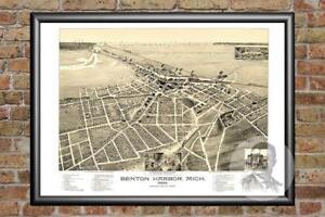 Old-Map-of-Benton-Harbor-MI-from-1889-Vintage-Michigan-Art-Historic-Decor