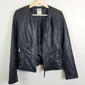 ZARA-Womens-Black-Faux-Leather-Zip-up-Jacket-Size-S-or-AU-10-US-6