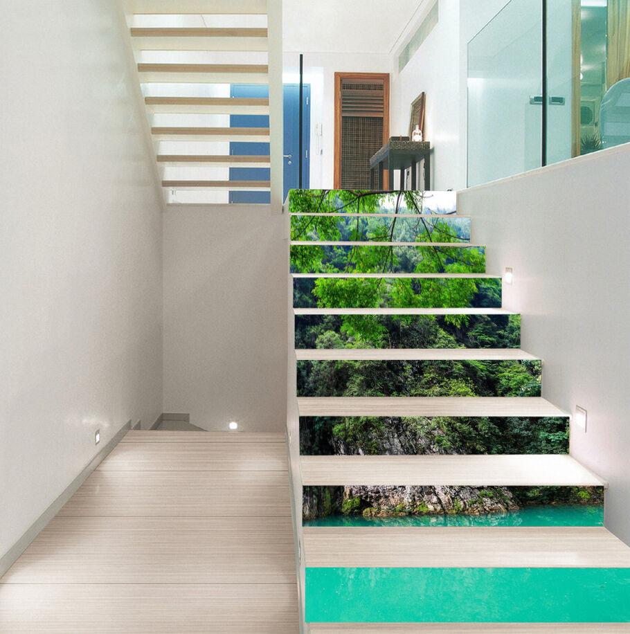 3D Grn See 427 Stair Risers Dekoration Fototapete Vinyl Aufkleber Tapete DE