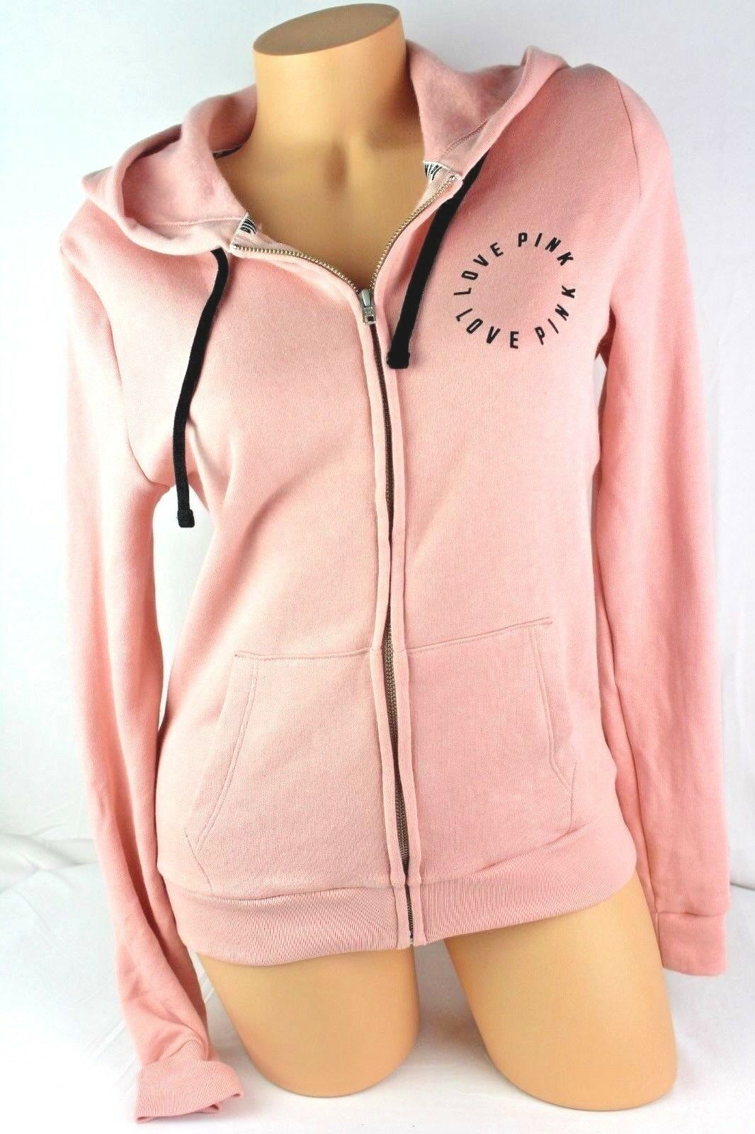 VICTORIA'S SECRET PINK HOODIE FULL ZIP LOGO LONG SLEEVE SIZE SMALL NEW BL291