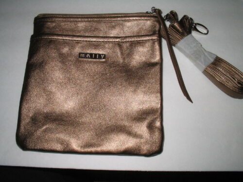 "NEW Mally Bronze Metallic  8/""X 8/"" With Shoulder Strap Purse Bag Pocker Front"