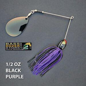 Bassdozer-spinnerbaits-THROBBER-1-2-oz-BLACK-PURPLE-spinnerbait-spinner-bait