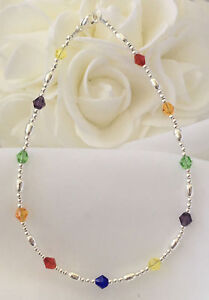 Rainbow-Crystal-Silver-Bracelet-Ankle-Bracelet-2940-Plus-Sizes-too-6-034-to-14-034