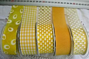 YELLOW-amp-WHITE-Mix-Tones-Polyester-38mm-Wide-2-amp-3-Metres-5-Design-Styles-Choice