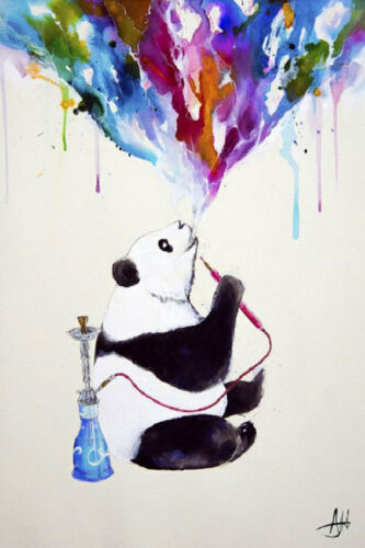 24x36 CHAI PANDA SMOKING HOOKA POSTER rolled and shrink wrapped