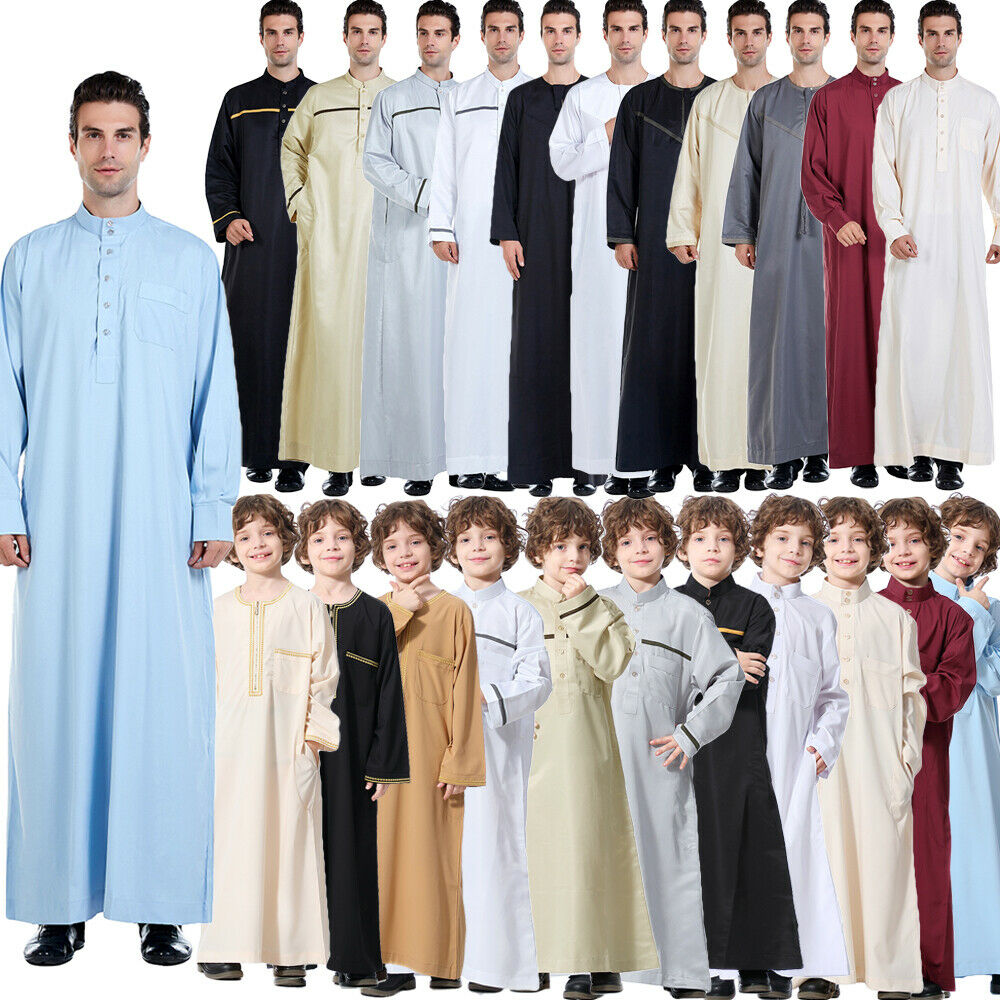 Mens Boys Arabic Robe Caftan Dress Kaftan Thobe Dishdasha Saudi Muslim Jubba New