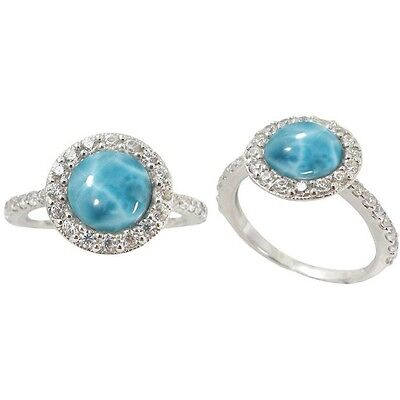 Sterling Silver Ring Round Larimar and Round White CZ Stones 6478//LR//CZWH//R