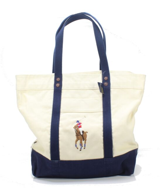 Polo Ralph Lauren NEW Natural Blue Men's One Size Canvas Pony Tote Bag $98 #243