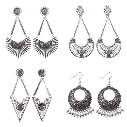 Women Vintage Bohemian Boho Antique Silver Hollow Carved Flower Dangle Earrings