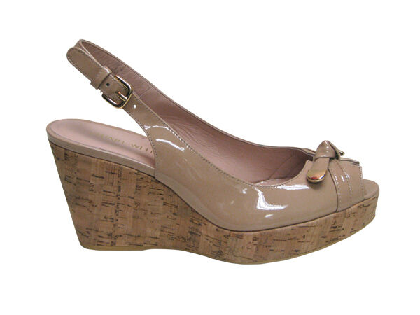 STUART WEITZMAN NEW SHOES SANDALS HEELS WOMEN LEATHER CHATTER BEIGE Wedge  10