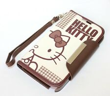 For Samsung Galaxy Note 2 BROWN HELLO KITTY LEATHER WALLET POUCH FLIP CASE COVER