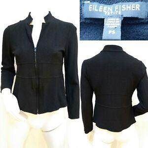 Jacket Sweater Størrelse Black Cardigan Lille Zip Eileen Euc Uld Fisher U4PZ6wxY