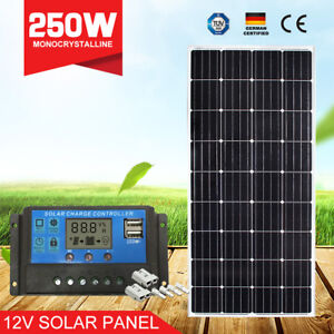 12V-250W-Solar-Panel-Mono-Cells-Generator-Caravan-250-watt-amp-20A-PWM-Regulator