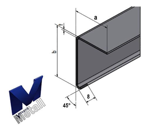 2,5m Edelstahlwinkel 90° mit Tropfkante L 2500mm 1.4301 AUSSEN Schliff K320