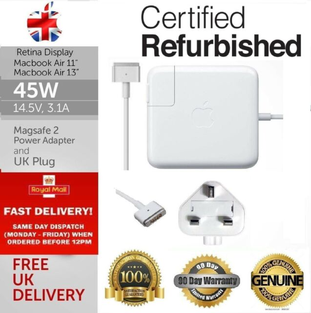 Genuine Refurbished 45W Macbook Air 11 13 MagSafe 2 OEM Charger A1466 A1436
