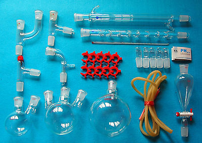 New advanced chemistry Lab glassware kit with 24/29 Glass Ground Joint,Free Ship