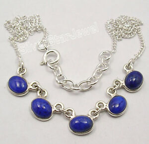 925-Sterling-Silver-Genuine-LAPIS-LAZULI-EXTRA-ORDINARY-Necklace-16-8-034