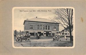 Medway-MA-Town-Hall-Grocer-Police-Bank-Later-Theatre-Victorian-1912-Autos-PC