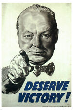 Deserve victory VINTAGE WAR POSTER Winston CHURCHILL UK 1945 24X36 rare HOT