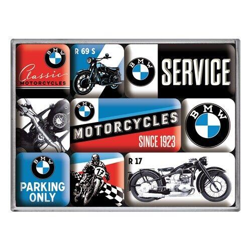 Magnet set 9 pzas motocicleta BMW bikes nostalgia set nuevo en Poly Box