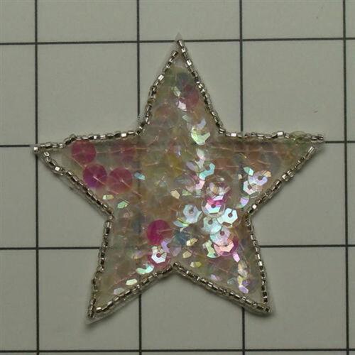 STAR SEQUIN BEADED 2.75IN APPLIQUE 3894-B