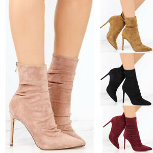 Women-Pointed-Toe-Stilettos-High-Heels-Autumn-Back-Zip-Shoes-Work-Party-Boots
