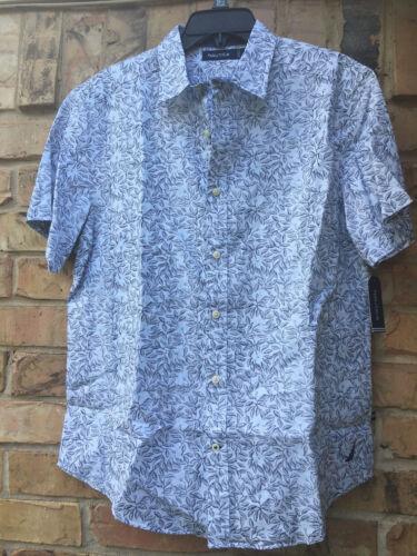 NWT Men Nautica Classic Fit Floral Print Linen-Blend Short Sleeve Shirt S//M//L//XL