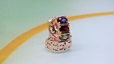 NEU Damen Creolen 18k Rose Gold gefüllt Ohrringe mit Multicolor Zirkonia 3Mix