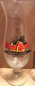 Hard-Rock-Cafe-SINGAPORE-9-034-Hurricane-Glass-w-HRC-Logo-Palm-Trees-amp-DRINK-RECIPE