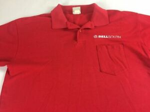 Bellsouth Polo Shirt VTG Mens Large Uniform USA Made Golf Front Pocket Employee