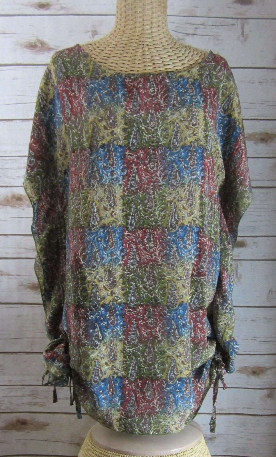 TOLANI Womens Small Paisley 100% Silk Blouson Dress Drawstring Tunic Lagenlook S