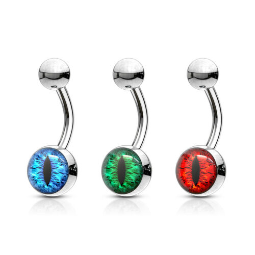 SNAKE Eye Stud STAINLESS Steel BELLY Button NAVEL Barbell RINGS Piercing Jewelry