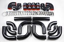 "Universal High Quality 2.5"" ALL Black Intercooler 12pc Piping Kit Aluminum"