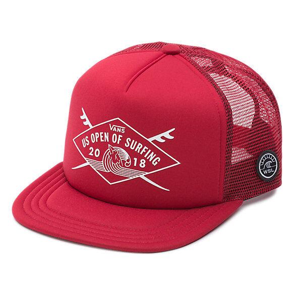 02002110ca VANS 2018 US Open of Surfing Hat (new) Shaper Trucker Cap Vuso Chili Pepper  Red