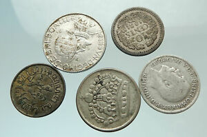 GROUP-LOT-of-5-Old-SILVER-Europe-or-Other-WORLD-Coins-for-your-COLLECTION-i75690