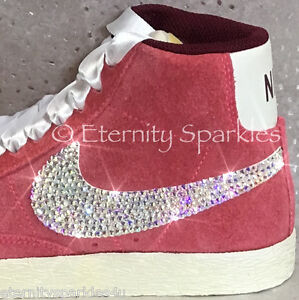 Image is loading Customised-Rose-Pink-Crystal-Sparkle-Nike-Blazers-Made- 09452cac6