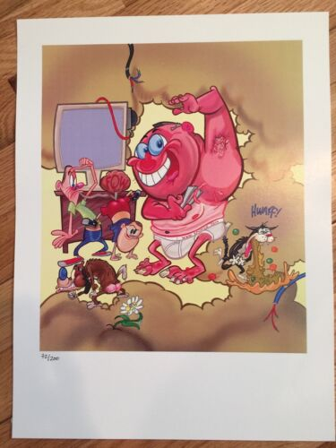 Four Ren /& Stimpy Adult Party Cartoon Lithograph Posters Numbered Kricfalusi