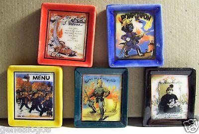 RARE lot 5 TABLEAUX THEME SAPEURS POMPIERS FEVE PORCELAINE 3D 1//160 NEUF