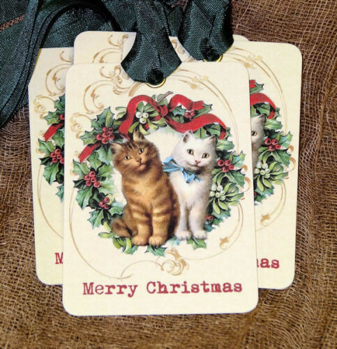 Hang Tags  MERRY CHRISTMAS CAT WREATH TAGS or MAGNET #616  Gift Tags