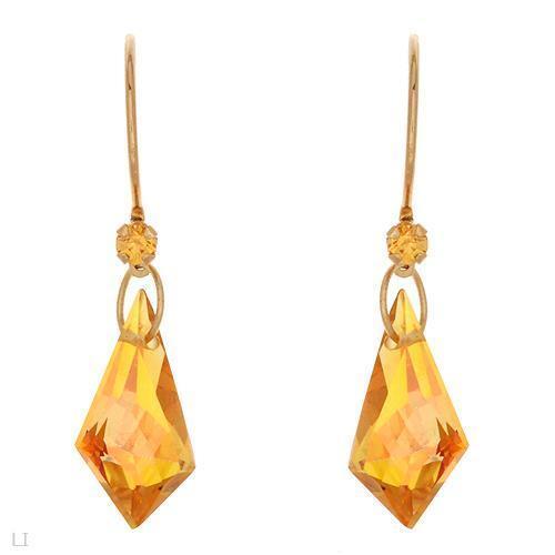 Belle boucles d/'oreilles avec véritable cristaux en 10K or Jaune