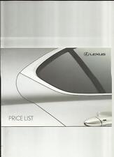 LEXUS LS600h,LS 460,GS300/450h/460, RX 400h +MORE PRICE LIST BROCHURE APRIL 2009