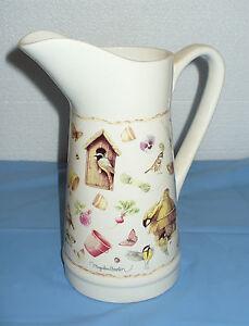 Large-10-Marjolein-Bastin-Natures-Sketchbook-Flower-Pot-Vase-Water-Pitcher-EXC